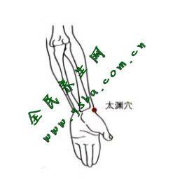 太渊穴在腕前区,桡骨茎突与舟状骨之间,拇长展肌腱尺侧凹陷中。